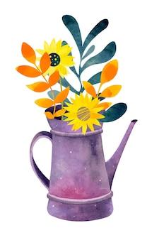 Annaffiatoio ad acquerello con fiori Vettore Premium
