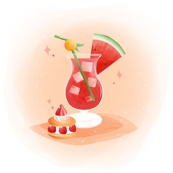 Acquerello di succo di anguria con macaron di frutta e fragola di anguria.