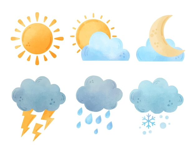 Collezione di effetti meteorologici ad acquerello