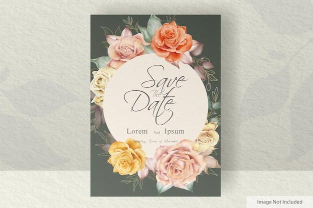 Modello di partecipazione di nozze ad acquerello impostato con illustrazione floreale e foglie di fiori decorazione decoration