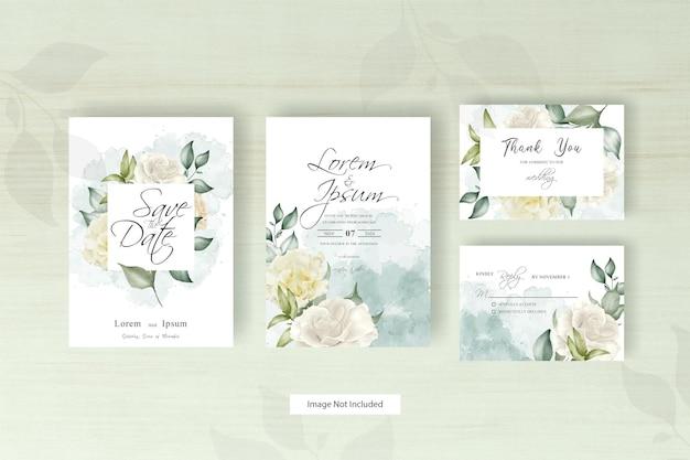 Modello di carta di nozze dell'acquerello con cornice floreale e foglie