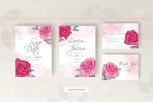 Modello di carta di nozze dell'acquerello con fiori e foglie