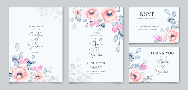 Modello di carta di invito matrimonio acquerello impostato con alcune foglie botaniche e fiori rosa tenui