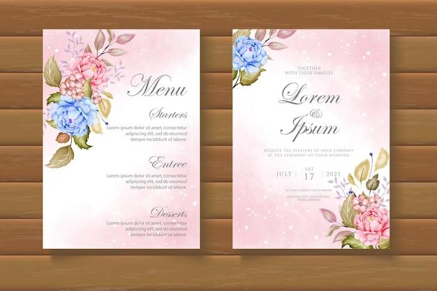 Modello di biglietto d'invito per matrimonio ad acquerello