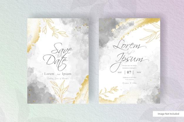 Biglietto d'invito per matrimonio ad acquerello con acquerello liquido colorato dipinto a mano ed elemento floreale