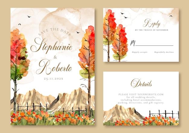 Biglietto d'invito per matrimonio ad acquerello con alberi gialli rossi marrone classico