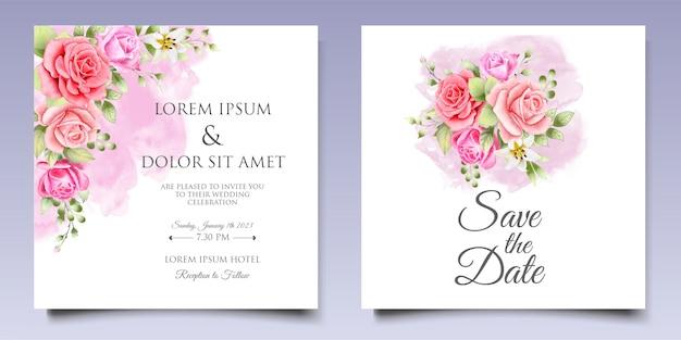 Modello di disegno dell'invito di nozze dell'acquerello