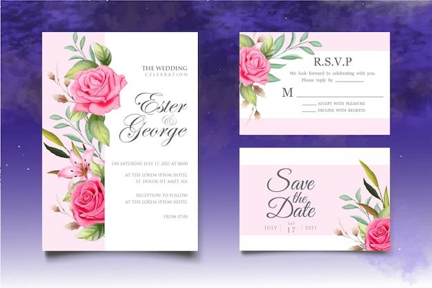 Modello di carta floreale e foglie di invito a nozze dell'acquerello