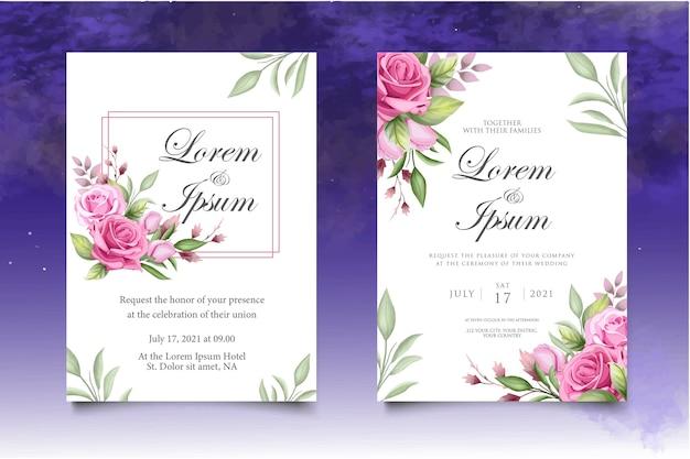 Modello di carta floreale e foglie di invito matrimonio acquerello