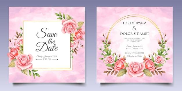Modello di carta floreale e foglie di invito a nozze dell'acquerello Vettore Premium