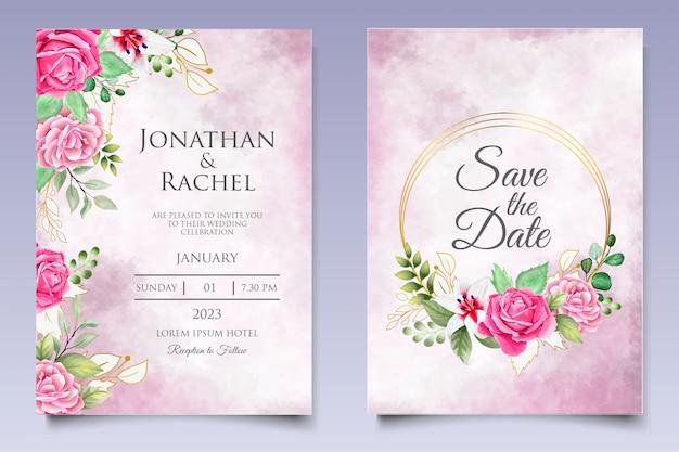 Modello della carta dell'invito di nozze dell'acquerello floreale e delle foglie