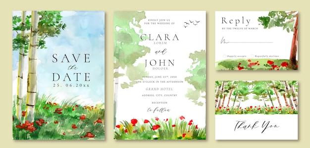 Acquerello matrimonio invito paesaggio foresta e campo floreale rosso