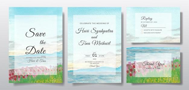 Invito a nozze ad acquerello con paesaggio di cielo e fiori