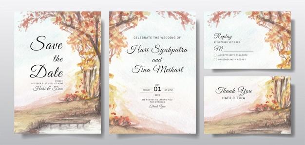 Invito a nozze dell'acquerello con paesaggio del cielo e dell'albero