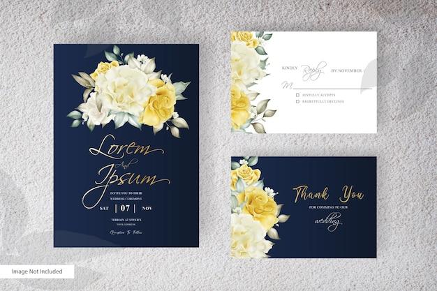 Disegno del modello dell'invito di nozze dell'acquerello con disposizione gialla del fiore e delle foglie