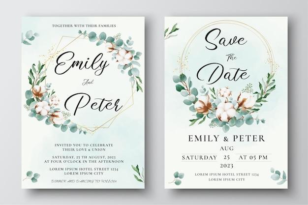 Modello di invito di matrimonio ad acquerello con fiori di cotone e foglie di eucalipto