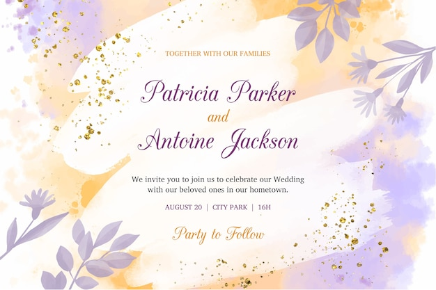 Modello di invito di nozze dell'acquerello