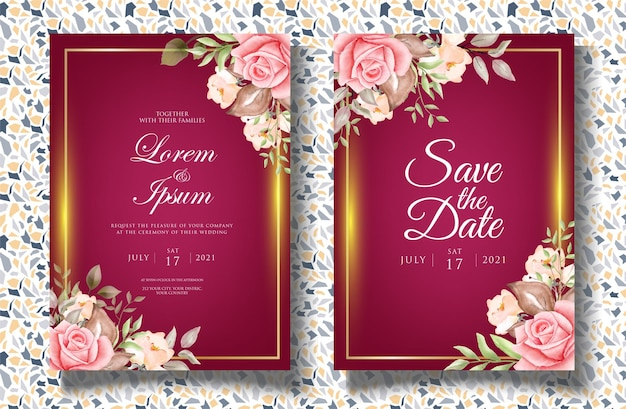 Modello di invito matrimonio acquerello