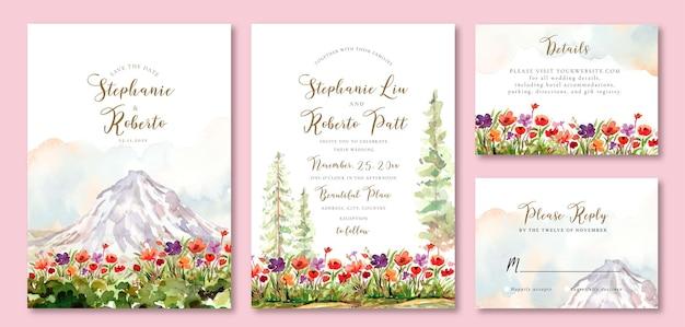 Invito a nozze ad acquerello con campo floreale e montagna ghiacciata