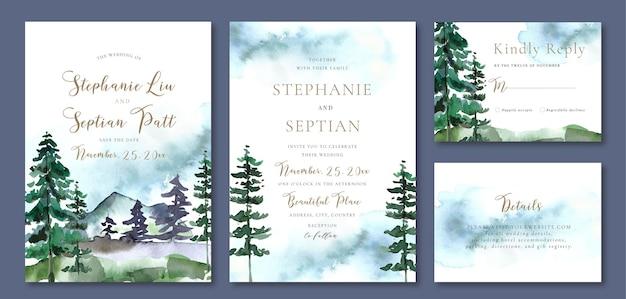 Invito a nozze ad acquerello con alberi di pino e sfondo astratto blu invernale di montagna