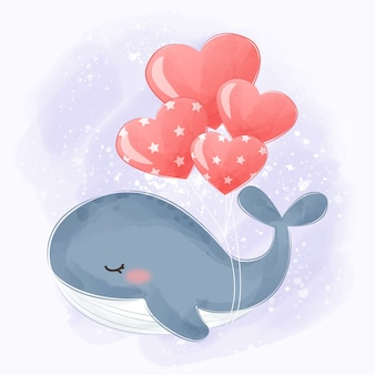 Balena dell'acquerello che vola con palloncini