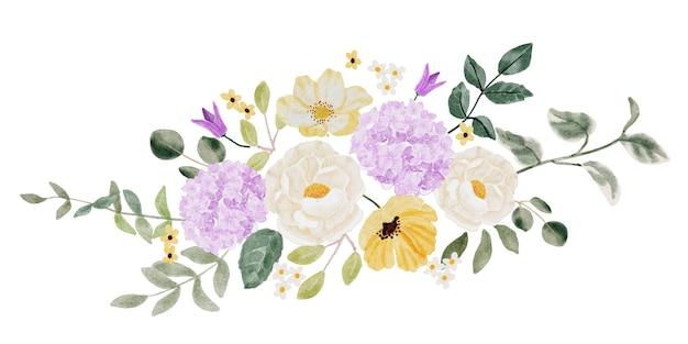 Bouquet di fiori di camelia bianca acquerello e ortensia viola