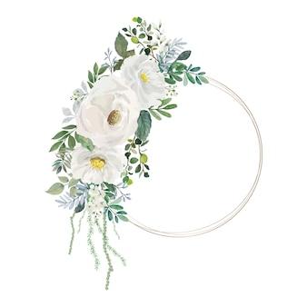 Mazzo di fiori bianchi e foglie verdi dell'acquerello con cornice circolare
