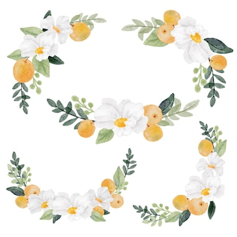 Acquerello fiore bianco e raccolta di frutta arancione isolata