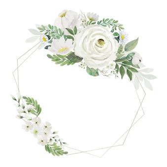 Bouquet di fiori bianchi e foglie verdi dell'acquerello con cornice poligonale