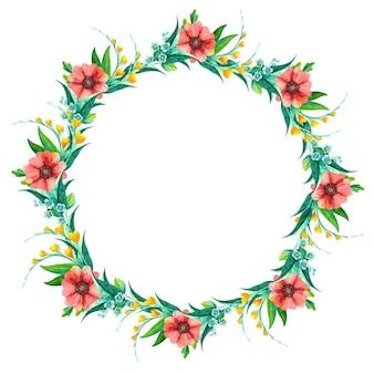 Corona di fiori di campo dell'acquerello, composizione floreale botanica.