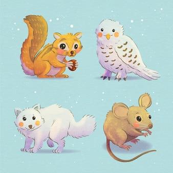 Collezione di animali invernali ad acquerello