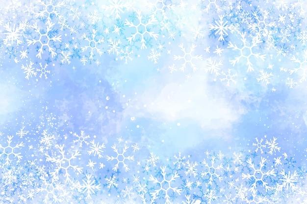 Priorità bassa di inverno dell'acquerello con i fiocchi di neve