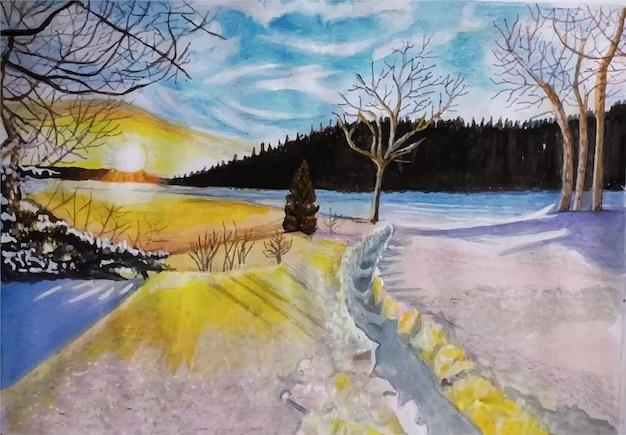 Illustrazione disegnata a mano di vista del paesaggio di inverno dell'acquerello
