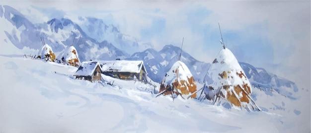 Paesaggio invernale dell'acquerello con le montagne