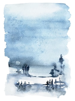 Paesaggio invernale dell'acquerello