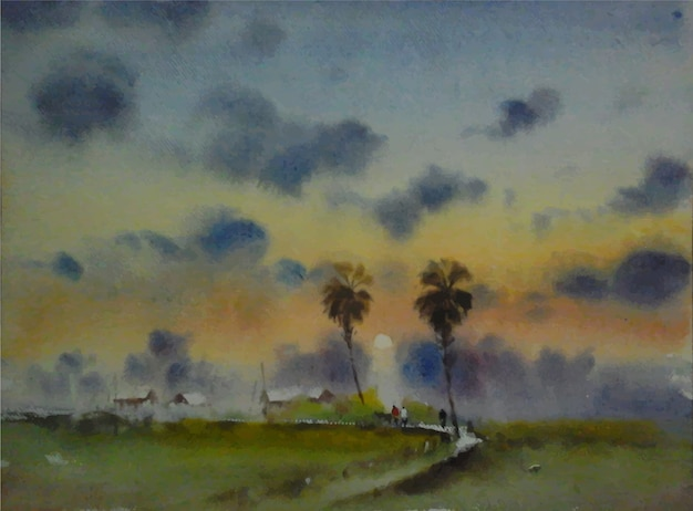 Paesaggio disegnato a mano della natura di inverno dell'acquerello