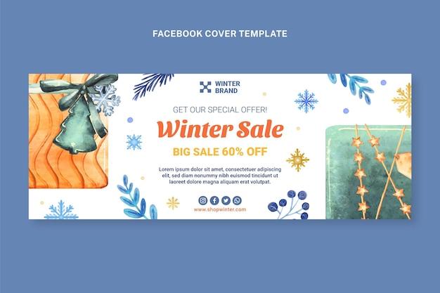 Modello di copertina per social media invernale ad acquerello