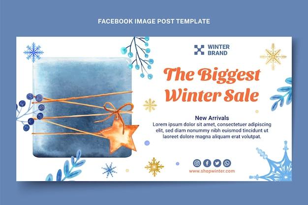 Modello di post sui social media invernali ad acquerello