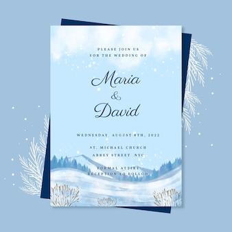 Modello di invito per matrimonio invernale ad acquerello