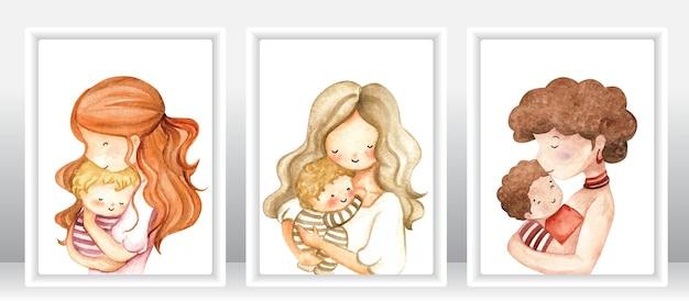 Donna dell'acquerello con il loro bambino insieme