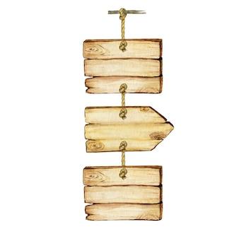 Insegne di freccia in legno dell'acquerello, vuoto vuoto. insieme di segni di legno dipinti a mano vecchi e retrò vintage