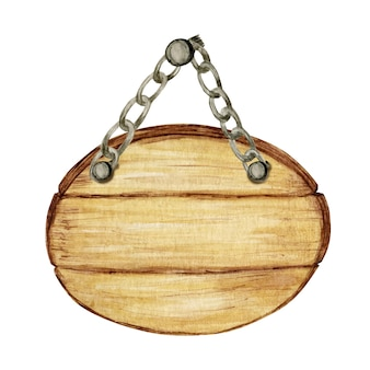 Insegne di cerchio di legno dell'acquerello, vuoto vuoto isolato.