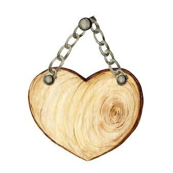 Insegne di cuore in legno dell'acquerello, vuoto vuoto isolato.