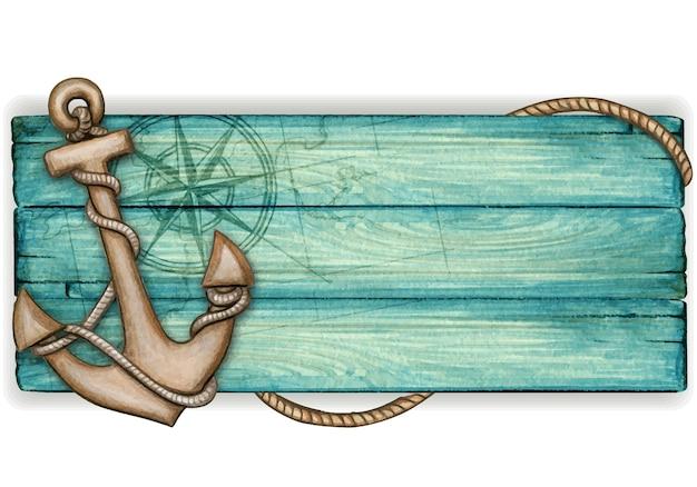 Banner vintage nautico in legno dell'acquerello