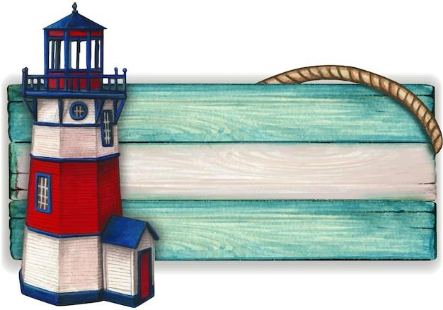 Insegna nautica vintage in legno ad acquerello
