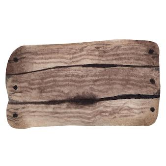 Insegna di legno dell'acquerello, piatto. tavole di legno dipinte a mano. illustrazione con spazio per il testo.