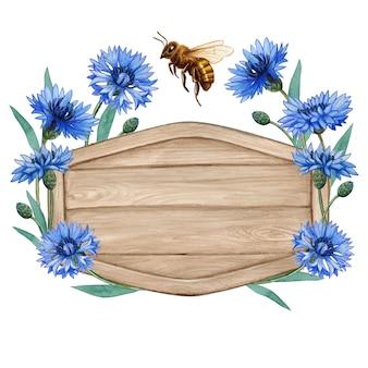 Etichetta di legno dell'acquerello con fiori di bluebottle e ape del miele