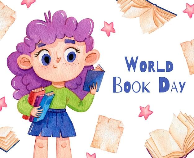 Illustrazione dell'acquerello giornata mondiale del libro Vettore Premium