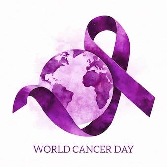 Giornata mondiale del cancro dell'acquerello