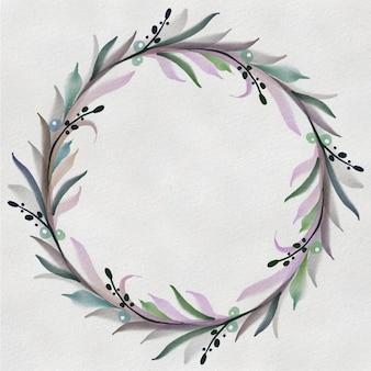 Corona dell'acquerello. cornice rotonda floreale dipinta a mano isolata